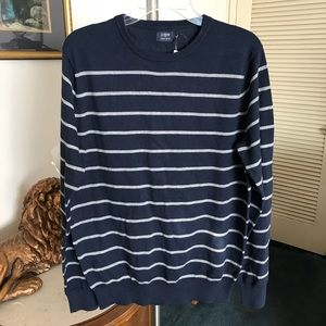 J Crew Mens Navy & Gray Striped Sweater Size Large